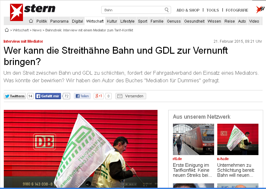 Stern-Interview mit Al Weckert: Mediation zum Bahnstreik sinnvoll?